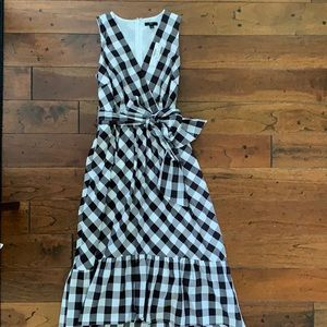 NWT JCrew black & white gingham wrap dress